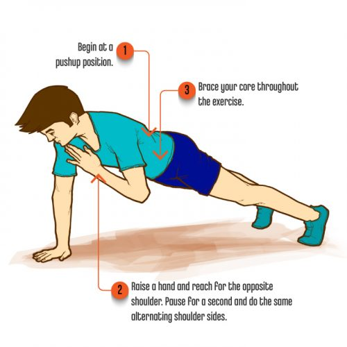Core Exercises-PantherShoulderTap