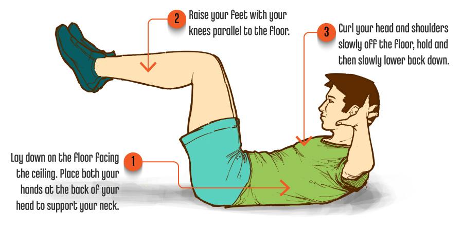 Raised Knee Half Crunch Upper Abdomen