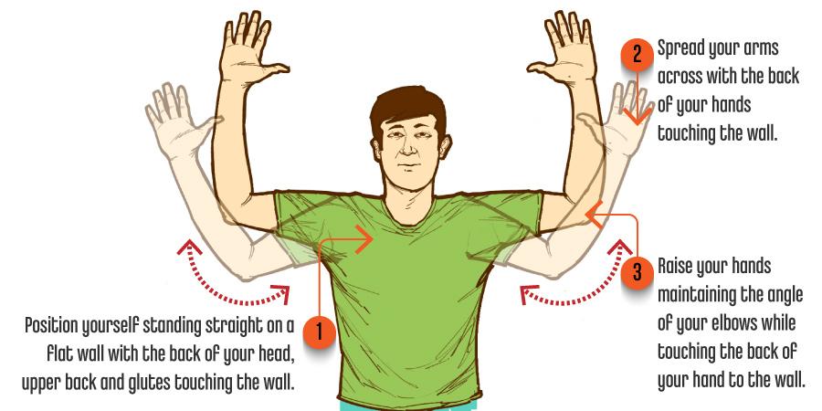 Back Shoulder Stretch Wall Angels Posture Exercise
